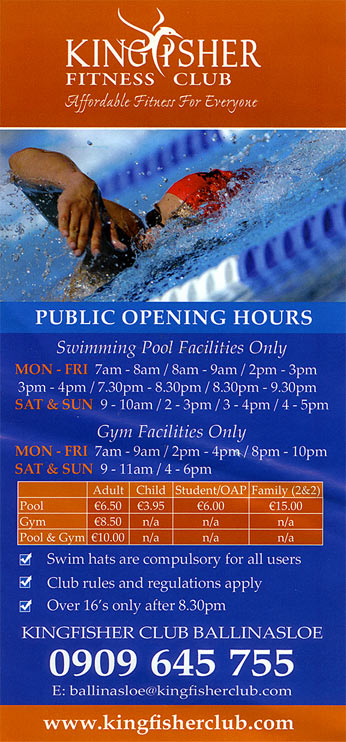 Kingfisher ballinasloe schedule opening hours gym and swimming pool for Kingfisher swimming pool prices