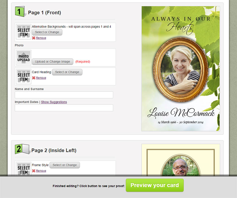 Online personalisation page